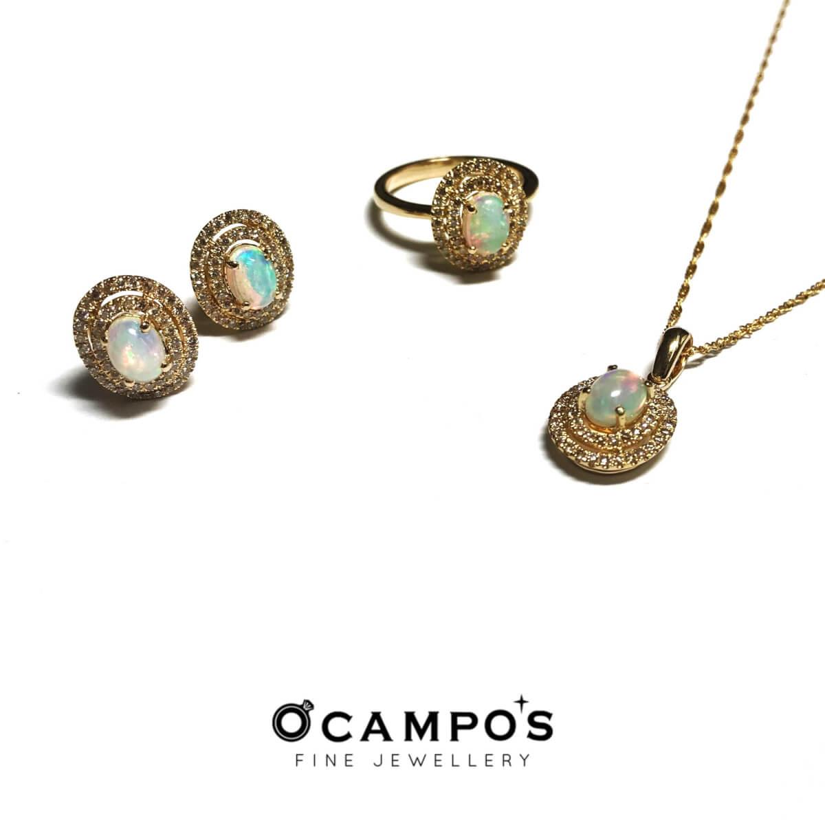 Opal Cabochon with Diamond Halo