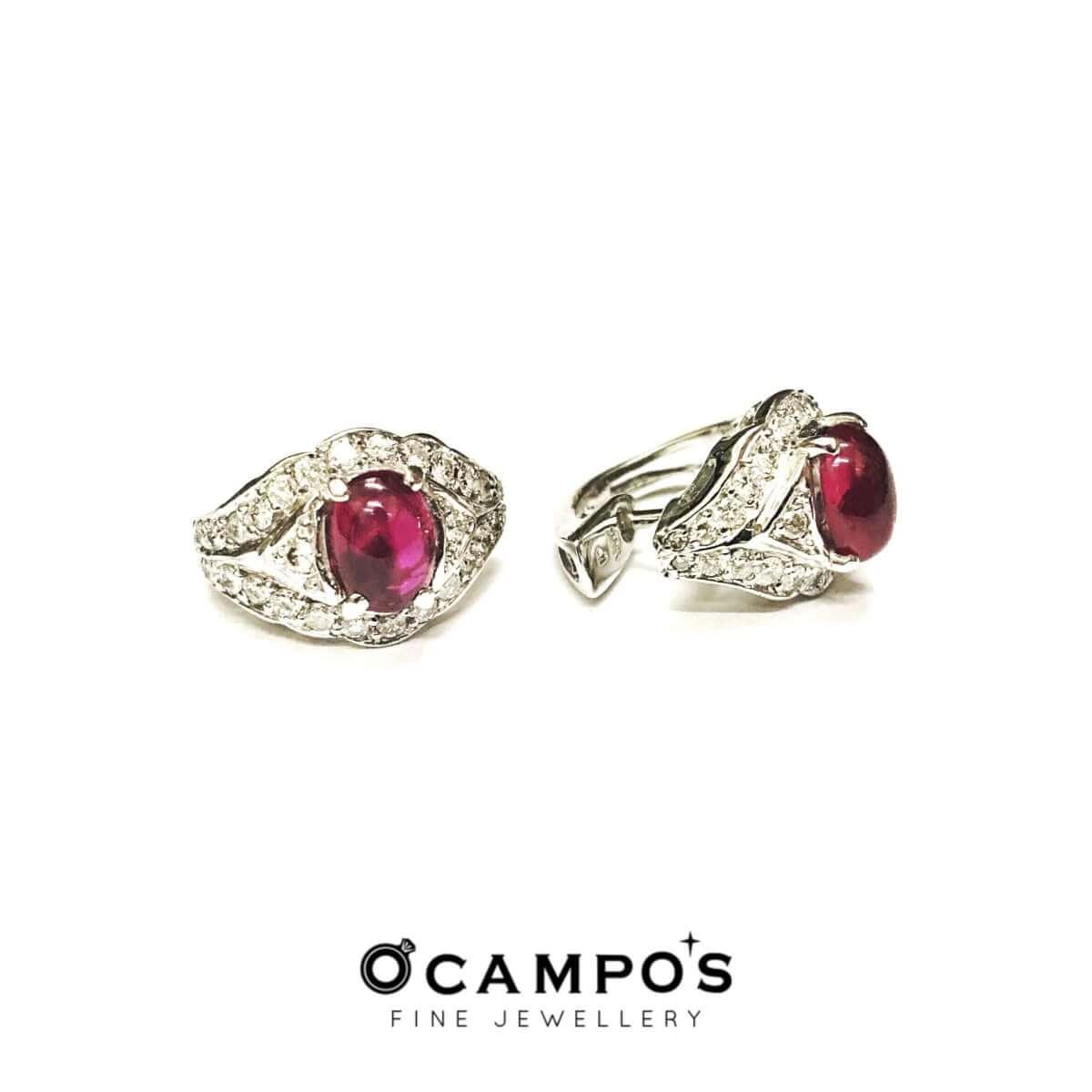 Ruby Cabochon Jewelry Set