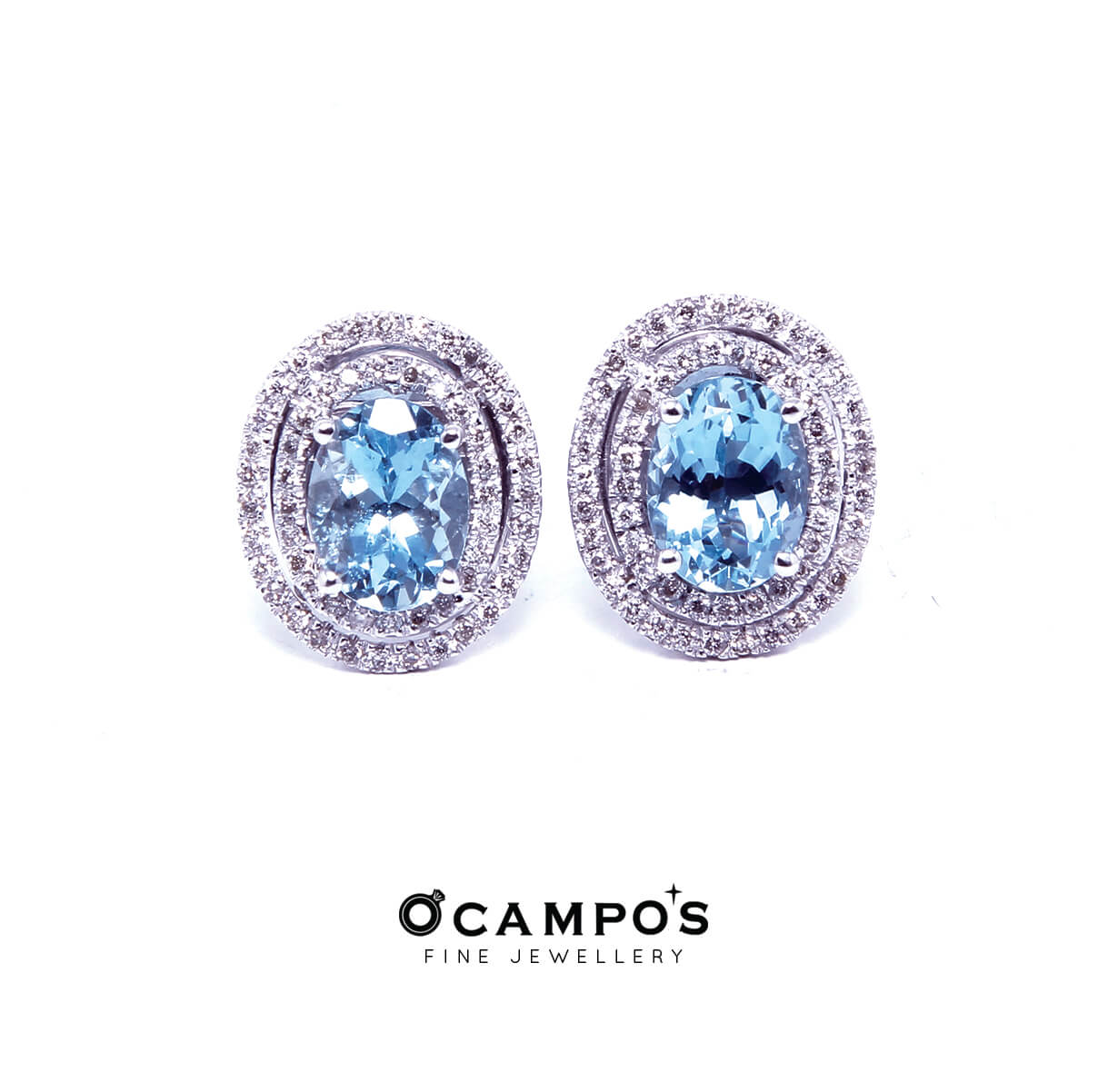 Aquamarine with Diamond Double Halo Set (White Gold)